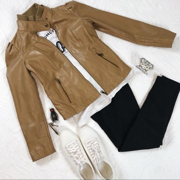 Madden Girl Jackets & Blazers - Tan Faux Leather Jacket Madden Girl Medium
